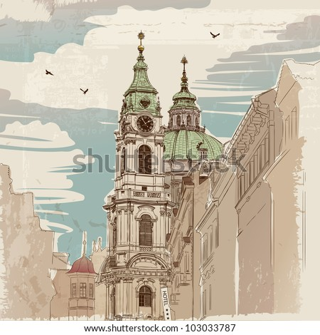 Vector sketch of Saint Nicholas Cathedral in Prague, Czech Republic - stock vector