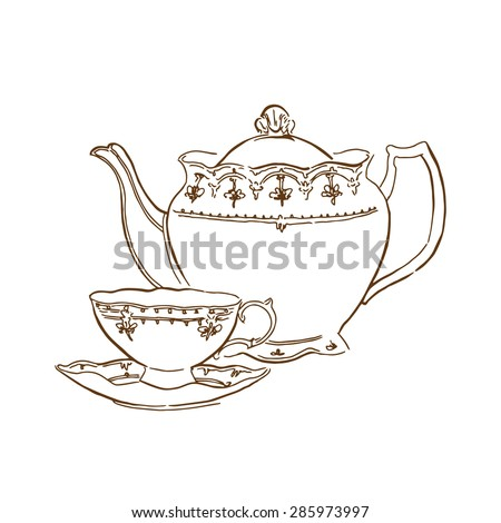 Vector sketch of tea service - stock vector