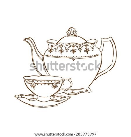 Vector sketch of tea service - stock vector