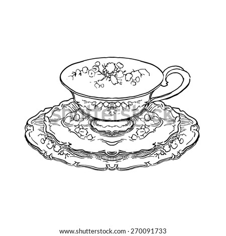 Vector sketch of tea set - stock vector