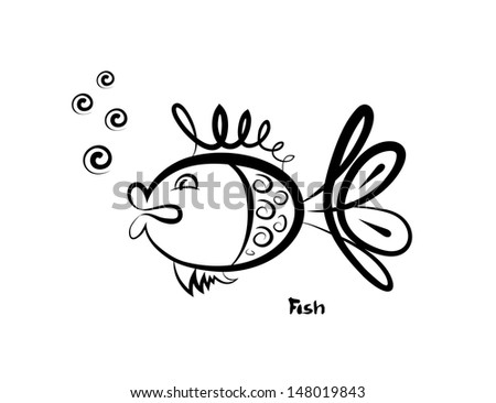 Vector sketch of the fish on white background. Hand sketch. - stock vector