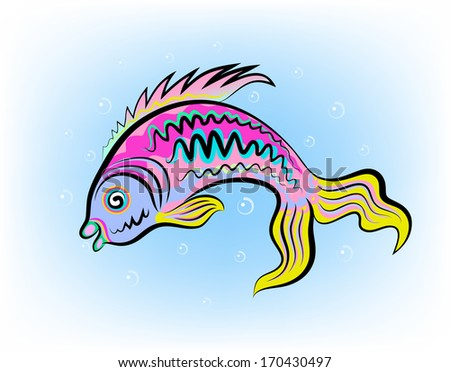 Vector sketch of the motley fish and air bubbles. - stock vector