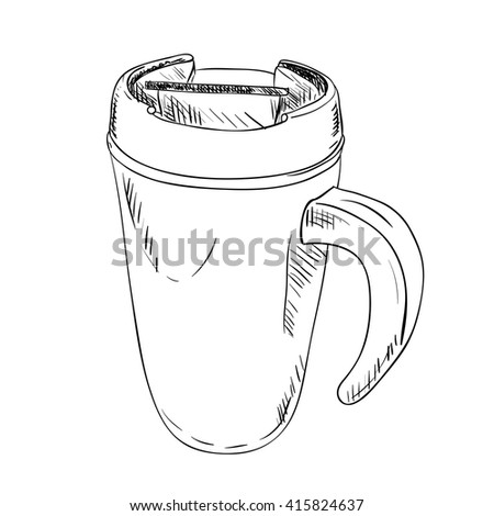 vector sketch of thermo cup with handle. Hand draw illustration. - stock vector