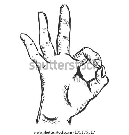 Vector Sketch Ok Gesture - stock vector
