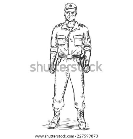 Vector Sketch Service Man - stock vector