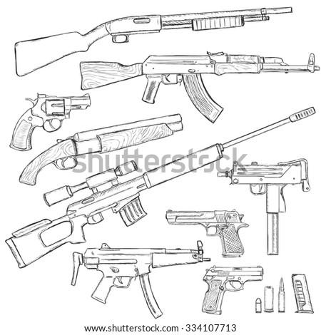 Vector Sketch Set of Firearm Weapons - stock vector
