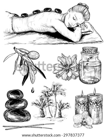 Vector sketch set of tropical spa, Beauty and health care - stock vector