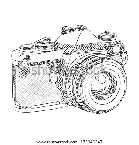 vector sketch style of retro camera - stock vector