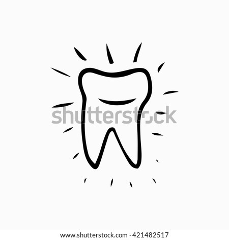 Vector sketch tooth  rays. Tooth hand drawn sketch .Tooth. Icon vector silhouette. Health, medical or doctor and dentist office symbols. Oral care. - stock vector