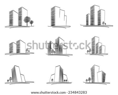 Vector sketched buildings - stock vector