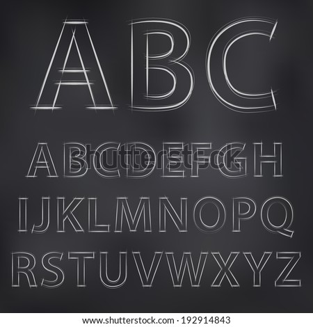 Vector sketched chalky alphabet on blackboard - stock vector