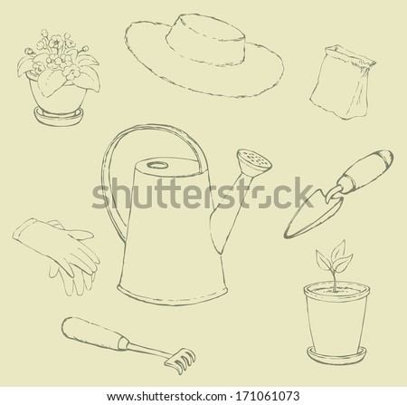 Vector sketches garden utensils. Lake, horticultural gloves, shovel, rake, sun hat, a bag of seeds and pots with plants - stock vector