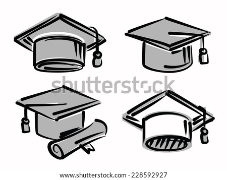 vector sketchy illustration of graduation cap on white - stock vector