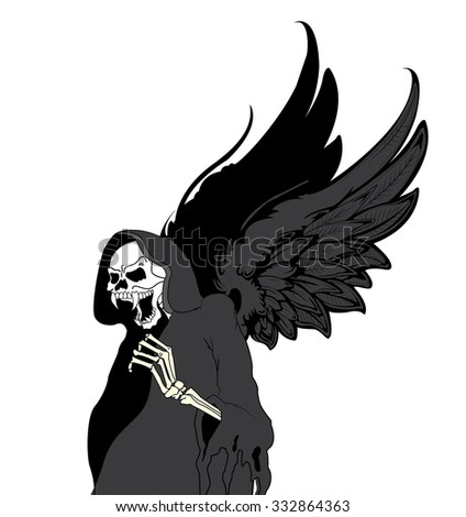 Vector skull and Hand drawn angel wings - stock vector