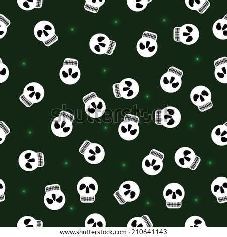 Vector skull  seamless pattern  on green background - stock vector
