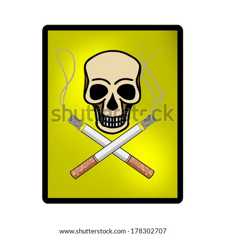 vector skull with cigarettes - stock vector