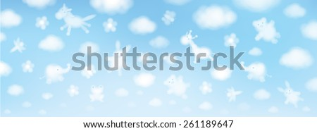 Vector sky background, cute animals cartoons. - stock vector