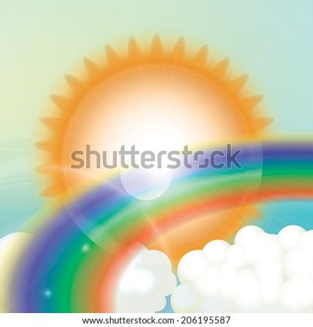 Vector Sky with sun, clouds and Rainbow - stock vector