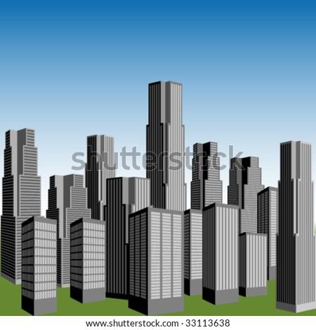 vector skyscrapers - stock vector