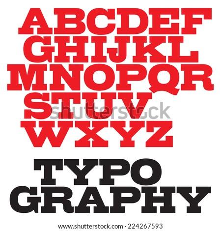 Vector slab serif bold font. - stock vector