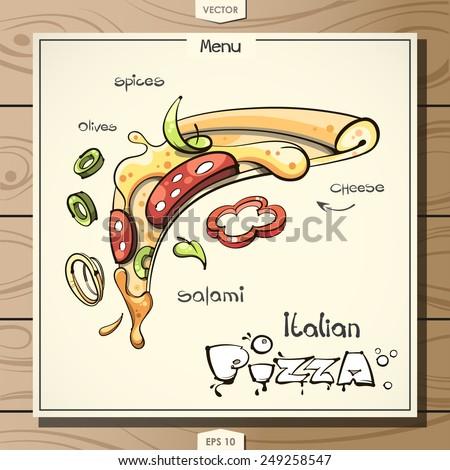 vector slice of pizza - stock vector