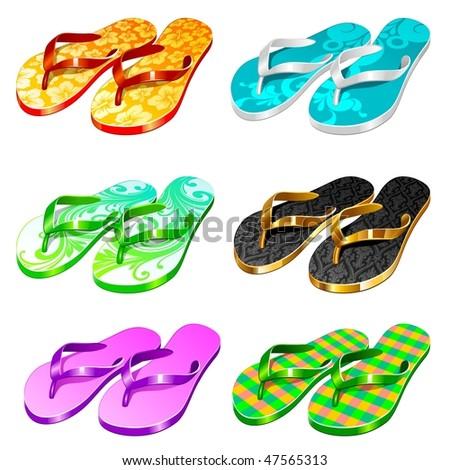 Vector slippers - stock vector