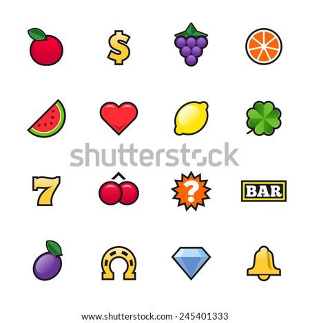 Vector slot machine symbols set - stock vector