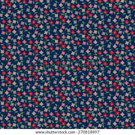 vector small floral designed seamless pattern , retro and vintage color tone - stock vector