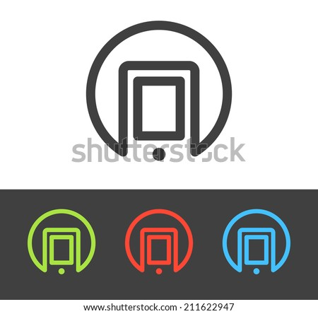 Vector smart phone icon set, line and flat design - stock vector
