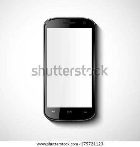 Vector Smart Phone With Blank Screen  - stock vector