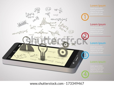 Vector  smart phone    with hand-drawn graphs and diagram - stock vector