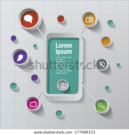 Vector smart phone with icons - stock vector