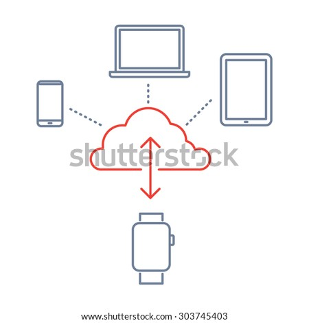 Vector smart watch linear icon with synchronizing smartwatches via cloud with tablet, phone and laptop | flat design thin line blue and red modern illustration and infographic on white background - stock vector