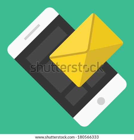 Vector Smartphone Email or SMS Icon - stock vector