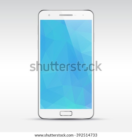 Vector smartphone mockup with blank polygonal screen. Perfectly detailed realistic mobile phone, cellphone isolated on light background - stock vector