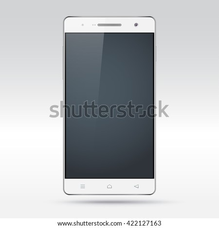 Vector smartphone mockup with blank screen. Perfectly detailed realistic white mobile phone isolated on light grey background - stock vector