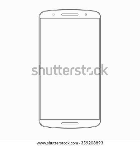 Vector smartphone outline template. Wireframe contour of modern smart phone, mobile phone, cellphone isolated on white background. Mobile device icon or symbol - stock vector