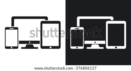 Vector smartphone, tablet and PC icon. Two-tone version on black and white background - stock vector