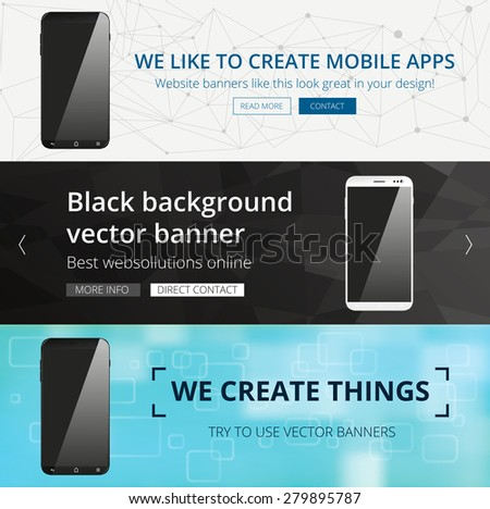 Vector smartphone website banner set - stock vector
