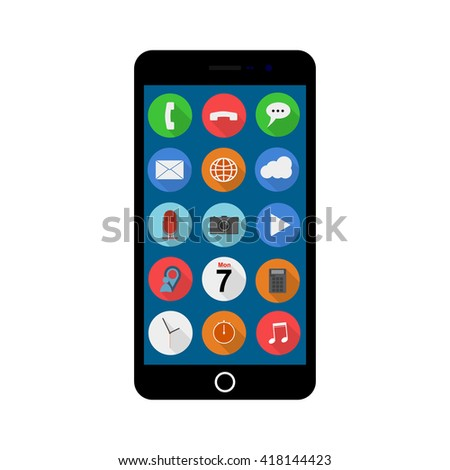 Vector smartphone with ui icons. Smart phone and web icons. Smartphone and web icons. Vector smartphone with apps icons. Smartphone isolated on white. - stock vector