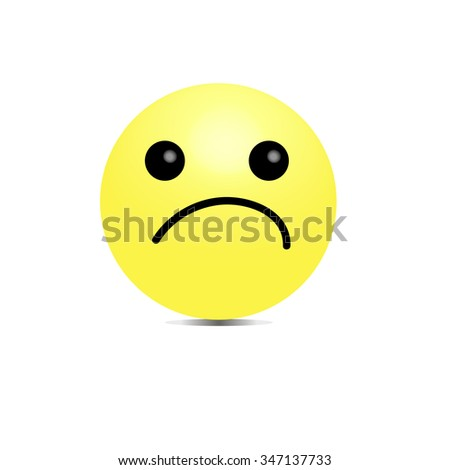 Vector smiley unhappy offended. 3D volumetric image . - stock vector