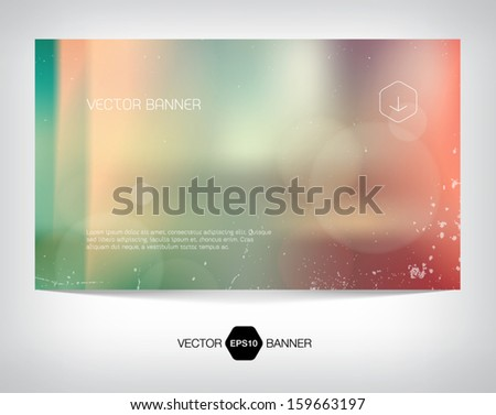 Vector smooth retro web banner, business card or flyer design. Blurry unfocused photographic vintage film effect with cross process, light leaks and bokeh lights. Grungy soft background.  - stock vector