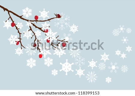 vector snow branch with red berries - stock vector