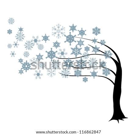 vector snow tree in the wind - stock vector