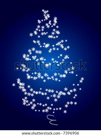 Vector Snowflake Christmas Tree - stock vector