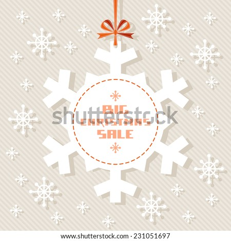 Vector snowflake tag - Christmas sale. Winter vintage background. Decorative illustration for print, web - stock vector