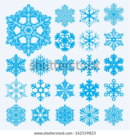 Vector snowflakes. Christmas and new year design element set. - stock vector