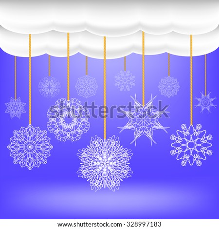 Vector Snowflakes Hang on a Rope. Abstract Winter Snow Background. Abstract Winter Pattern. Blue Snow Flakes Background - stock vector