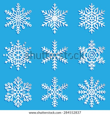Vector snowflakes set. Elegant snowflakes for Christmas and New Year design. Set 3. - stock vector