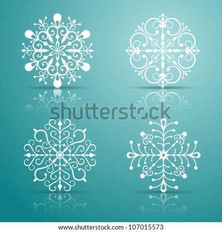 Vector snowflakes set for Christmas design. EPS 10 vector illustration. Contains opacity masks. - stock vector